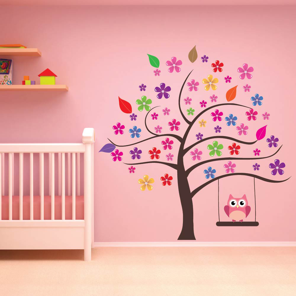Owl Tree Wall Sticker Flower Decal S Room Nursery Home Decor Art