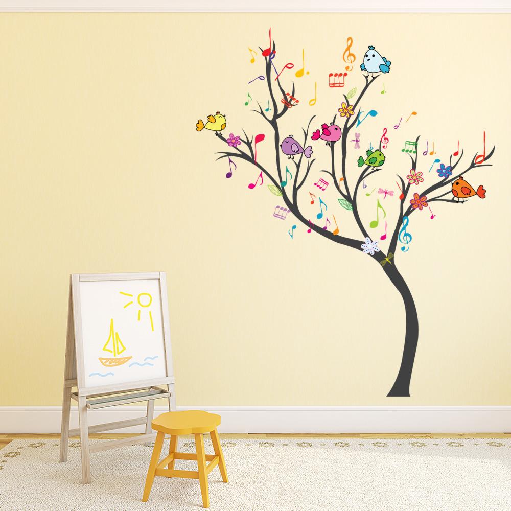 Arbre de musique autocollant mural oiseaux danimaux for Autocollant mural arbre