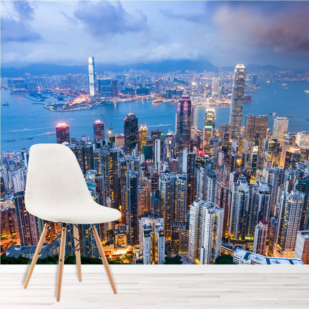 hongkong wandbild stadt skyline foto tapete wohnzimmer schlafzimmer wohnkultur ebay. Black Bedroom Furniture Sets. Home Design Ideas