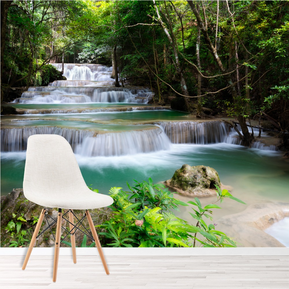 Forest Waterfall Wall Mural Green Trees Photo Wallpaper
