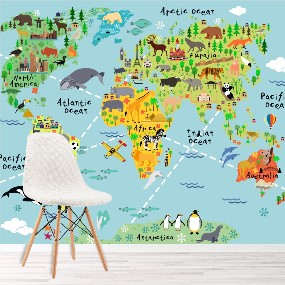 Animal World Map Wall Mural Wallpaper Ws 42154 Ebay