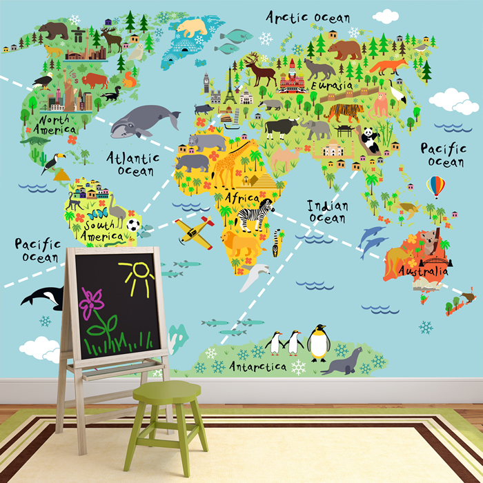 Animal world map wall mural childrens photo wallpaper kids bedroom animal world map wall mural childrens photo wallpaper kids bedroom home decor gumiabroncs Images