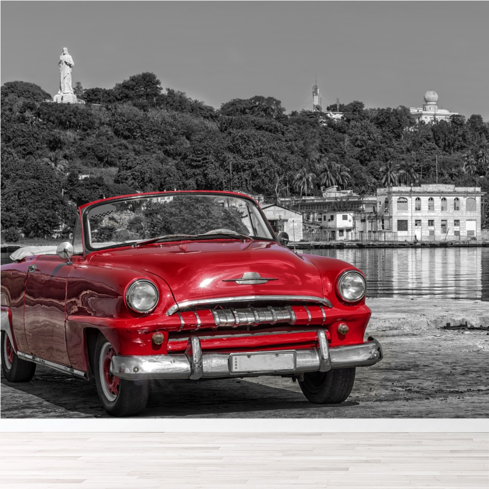 Vintage Red Car Wall Mural Black White Photo Wallpaper Cuba Home