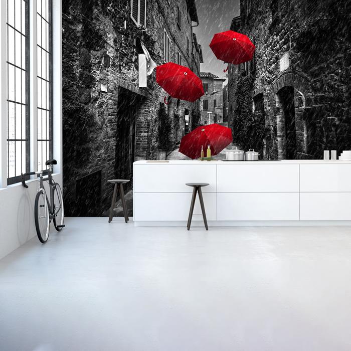 Red Umbrellas Black White Wall Mural Wallpaper WS-42189