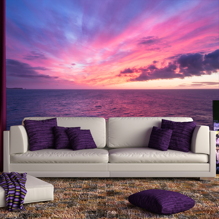 Purple Sky Wall Mural Ocean Sunset Photo Wallpaper Living Room ...