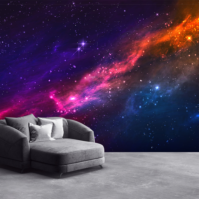 Outer space nebula wall mural purple pink sky photo for Decor outer space