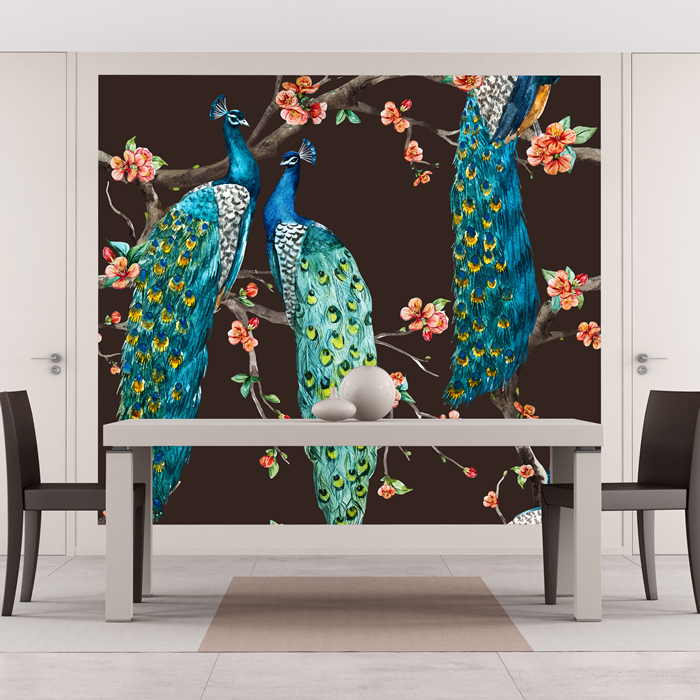 Blue Peacock Wall Mural Pink Cherry Blossom Photo