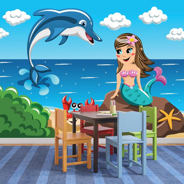 meerjungfrau dolphin wandbild m rchen foto tapete m dchen schlafzimmer ebay. Black Bedroom Furniture Sets. Home Design Ideas