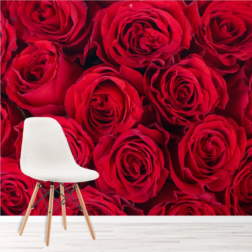 Red roses wall mural floral flowers photo wallpaper living room bedroom decor