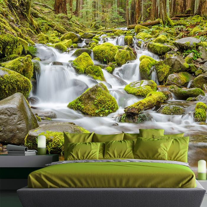 chute deau de montagne papier peint paysage vert papier peint photo chambre ebay. Black Bedroom Furniture Sets. Home Design Ideas