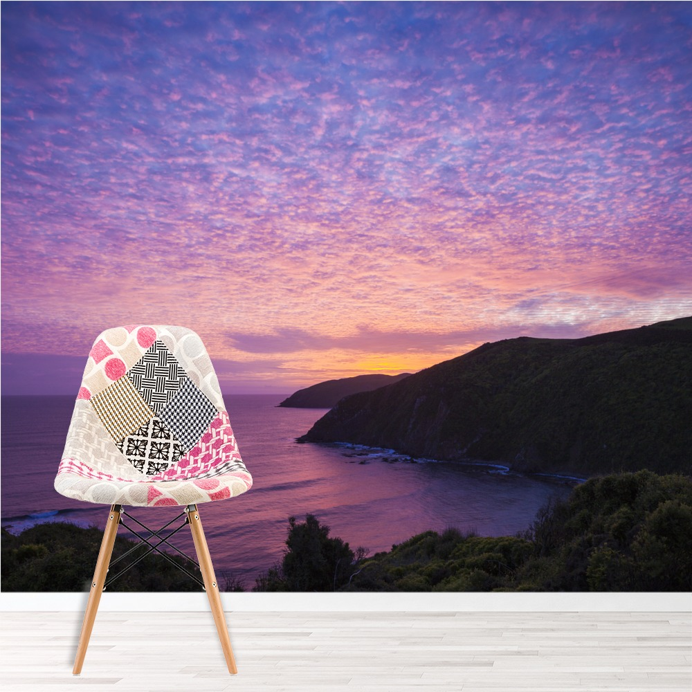 Lila Ozean Fototapete Neuseeland Sonnenuntergang Tapete Schlafzimmer ...