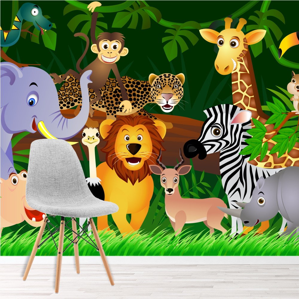 Jungle Animals Wall Mural Lion Photo Wallpaper Kids