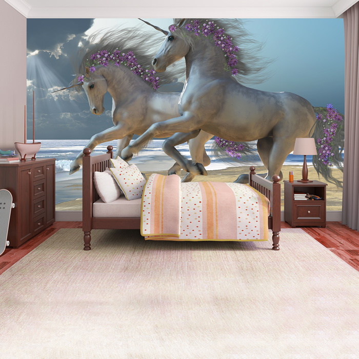 Unicorns Wall Mural Fairytale Fantasy Photo Wallpaper Girls Bedroom