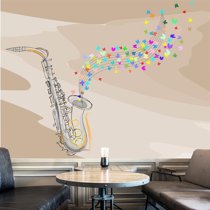 Jazz Saxophone Wall Mural Music Photo Wallpaper Bedroom Home Decor