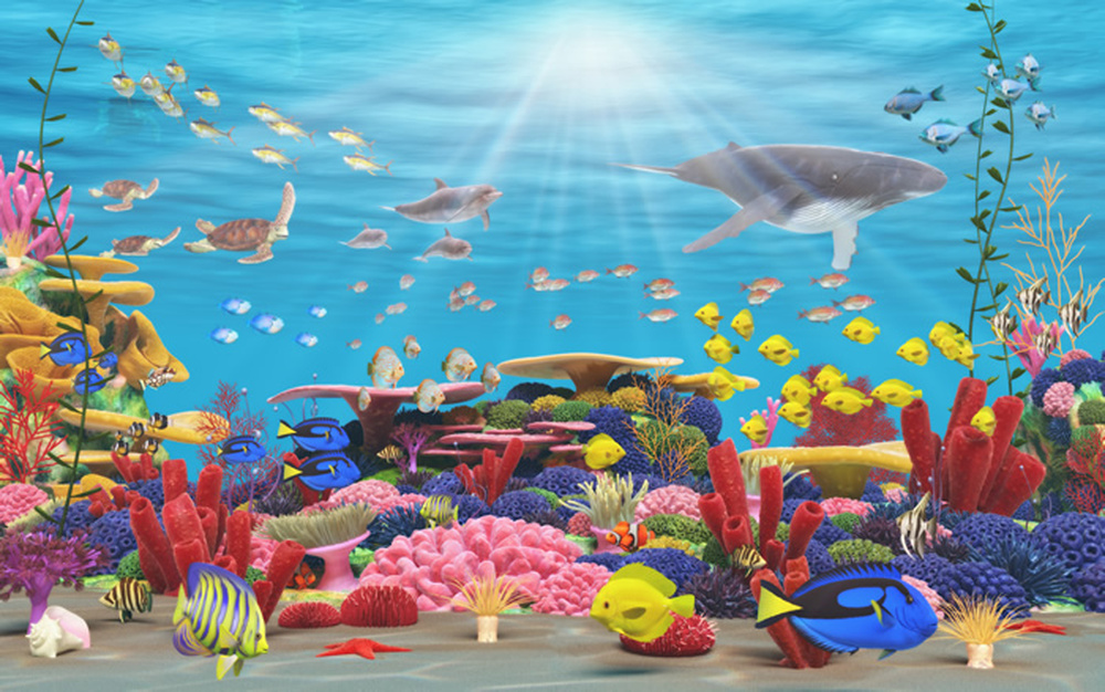 Vibrant coral reef wall mural wallpaper ws 42301 ebay - Sea coral wallpaper ...
