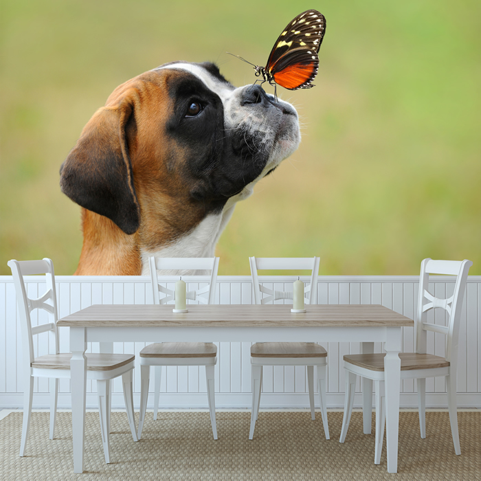 Boxer Puppy Dog Wall Mural Butterfly Photo Wallpaper Kids Bedroom Home Decor