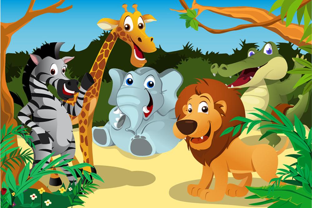 Safari Animals Wall Mural Jungle Photo Wallpaper Kids ...