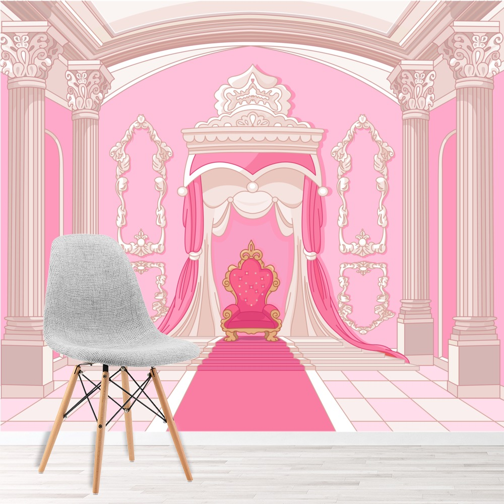 Princess Throne Wall Mural Pink Fairytale Photo Wallpaper Girls Room Home  Decor Part 62