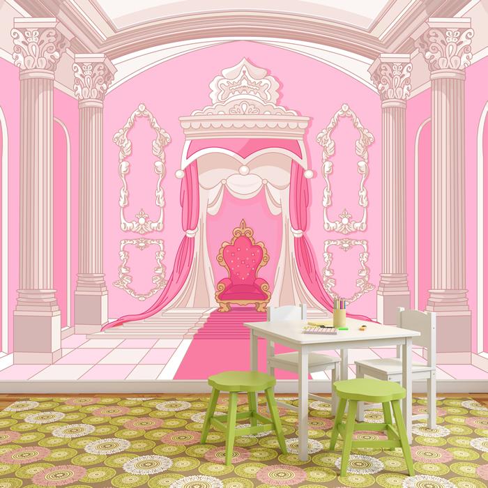 Princess Throne Wall Mural Pink Fairytale Photo Wallpaper