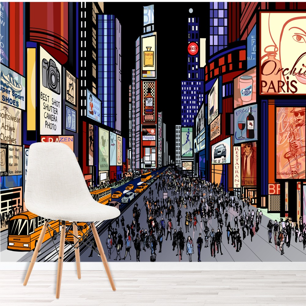 Times Square New York Wall Mural City Illustration Photo Wallpaper Bedroom  Decor
