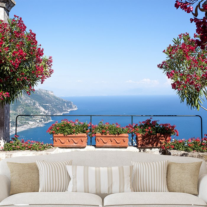 Amalfi Coast Italy Wall Mural Blue Ocean Photo Wallpaper Living Room