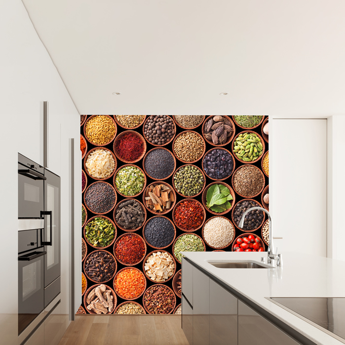 Colourful Spices Wall Mural Food Photo Wallpaper Kitchen Restaurant Home  Decor