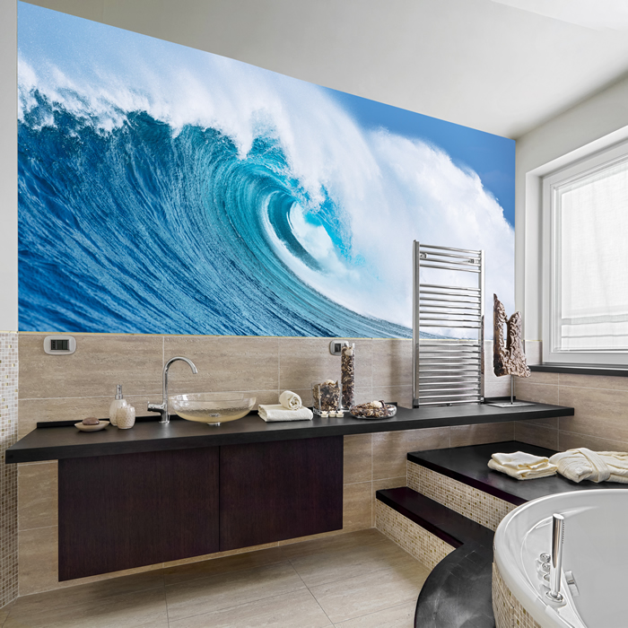 Giant Ocean Wave Wall Mural Blue Seascape Photo Wallpaper Surf Home Decor