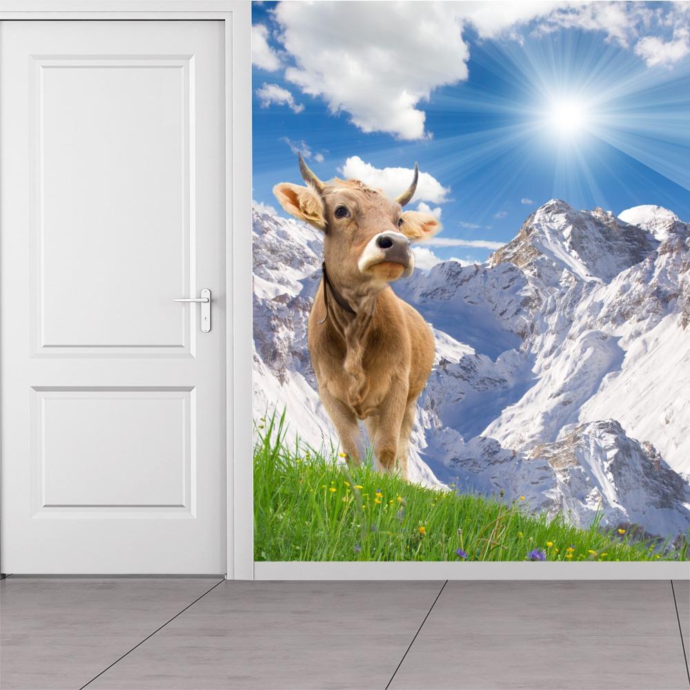 wei e berglandschaft wandbild braune kuh foto tapete k che wohnkultur ebay. Black Bedroom Furniture Sets. Home Design Ideas