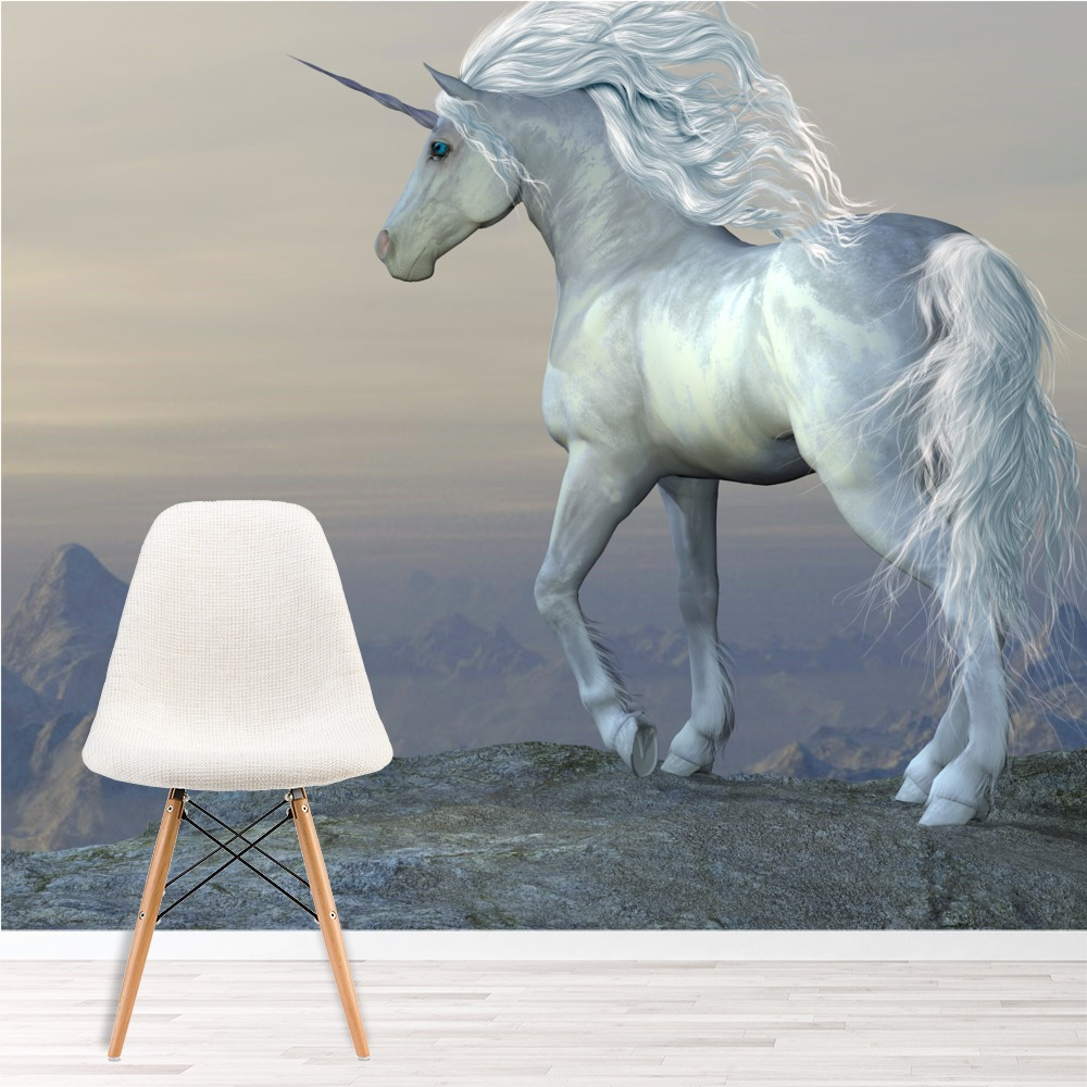 Beautiful White Unicorn Wall Mural Fairytale Photo Wallpaper Girls