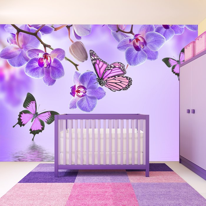 Purple Flower Wall Mural Floral Butterfly Photo Wallpaper ...