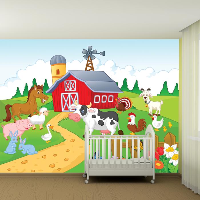 Kids Room Mural: Farmyard Wall Mural Animals Photo Wallpaper Kids Bedroom