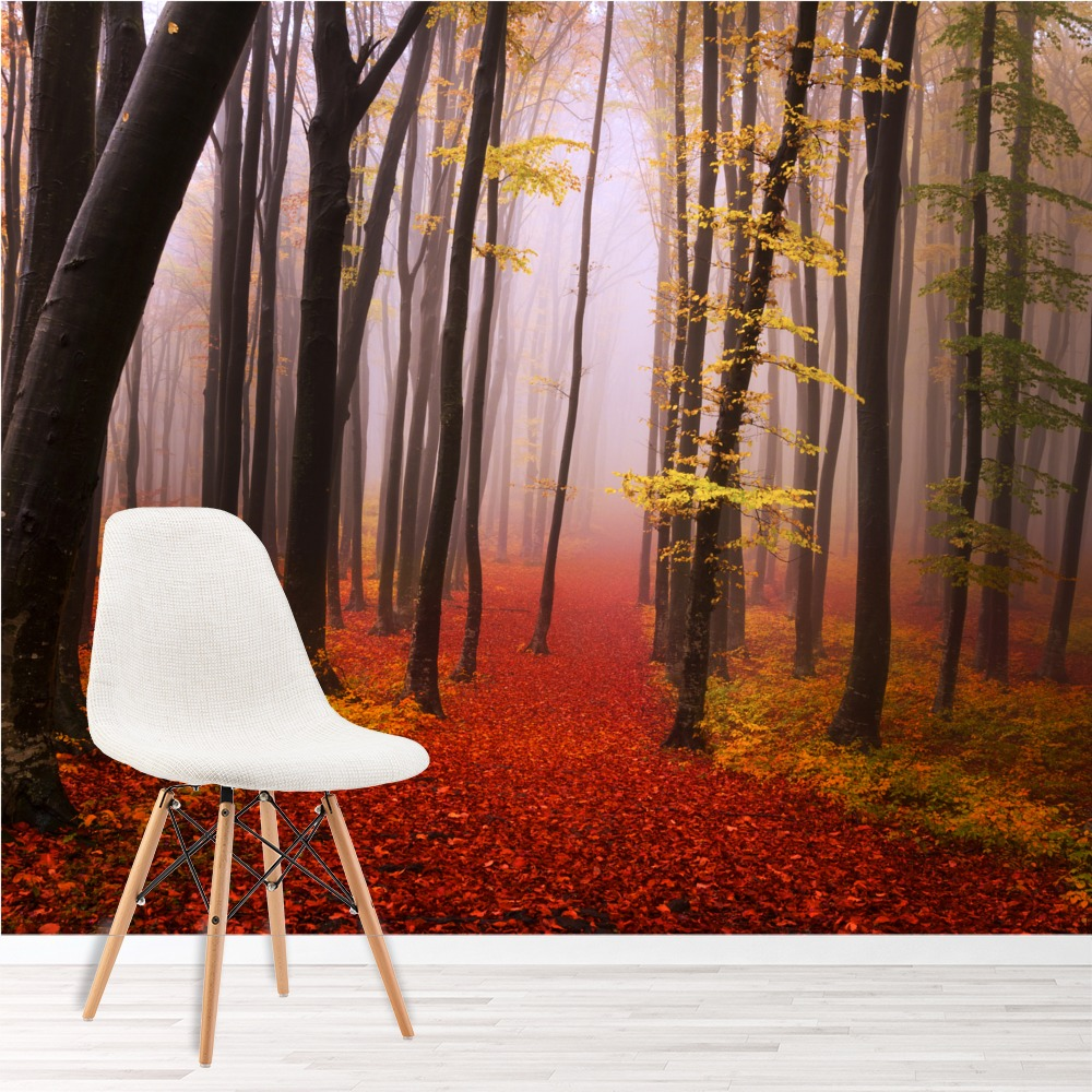 Misty Red Forest Wall Mural Trees Wood Photo Wallpaper