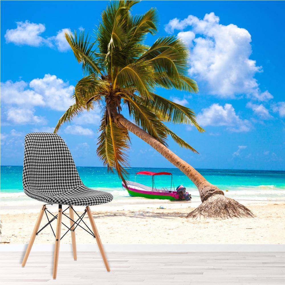 Tropical Beaches: Palm Tree Wall Mural Tropical Beach Photo Wallpaper Blue