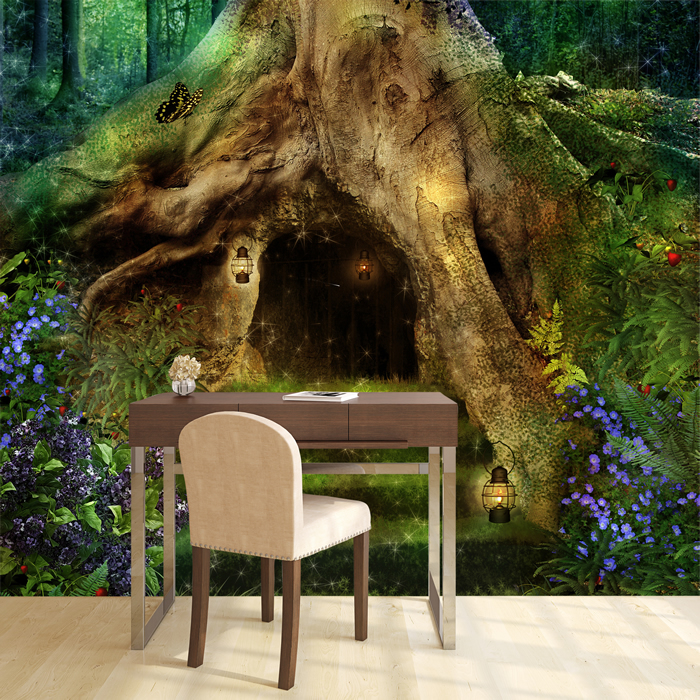 Magical Tree House Wall Mural Fairytale Forest Photo