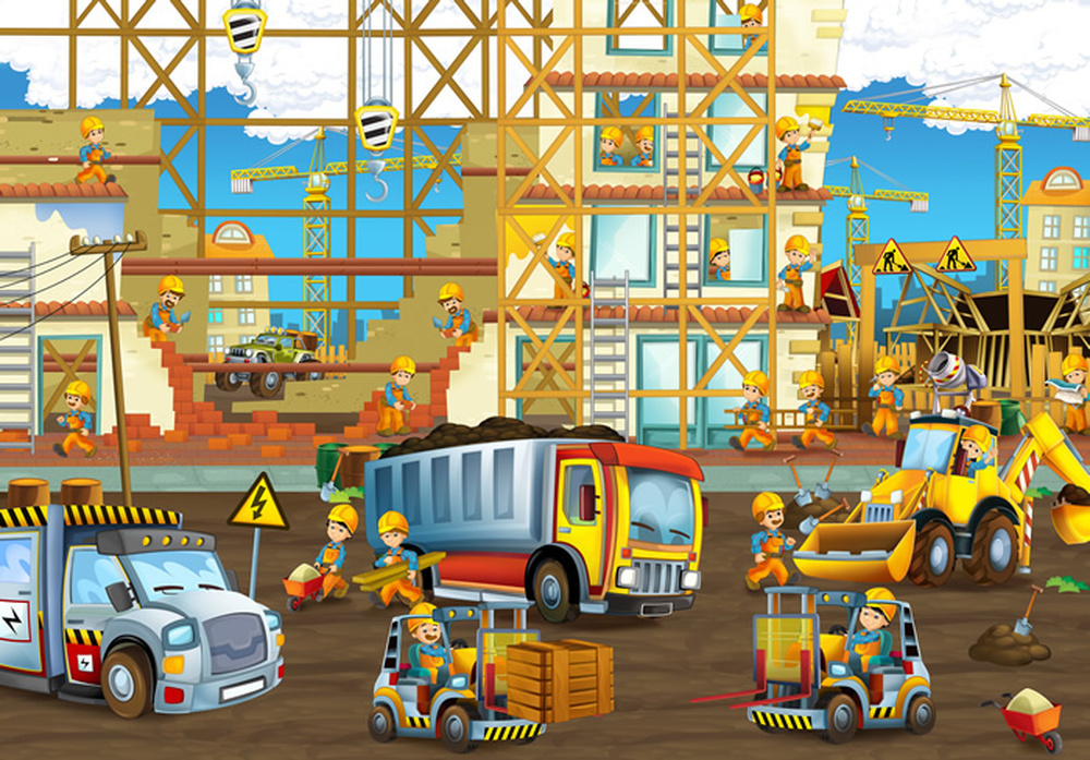 Construction Site Diggers Jcb Wall Mural Wallpaper Ws