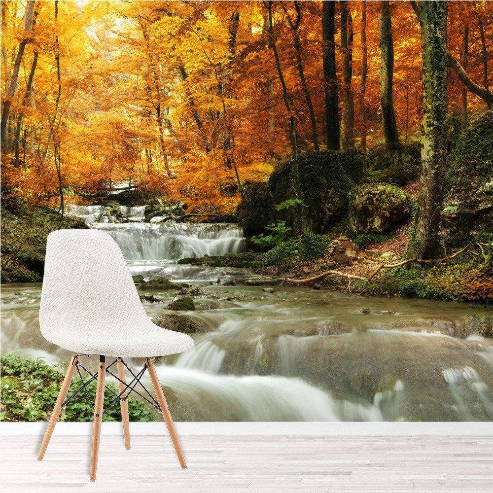 Waterfall autumn trees wall mural forest photo wallpaper for Autumn forest 216 wall mural