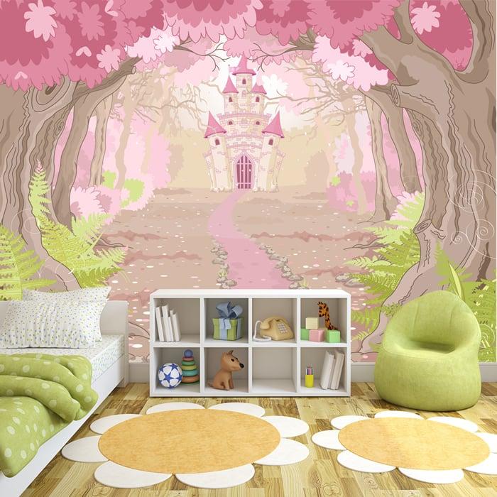rosa prinzessin schloss fototapete m rchen tapete m dchen schlafzimmer dekor ebay. Black Bedroom Furniture Sets. Home Design Ideas