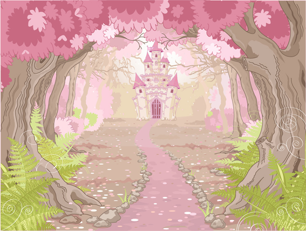 Pink princess castle wall mural fairytale photo wallpaper for Fairy princess mural