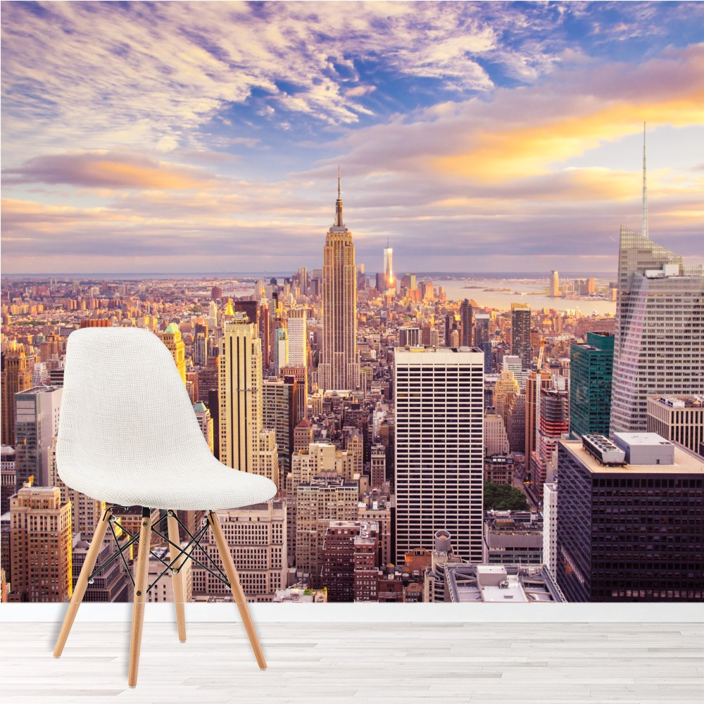 sonnenuntergang wolkenkratzer fototapete new york skyline. Black Bedroom Furniture Sets. Home Design Ideas
