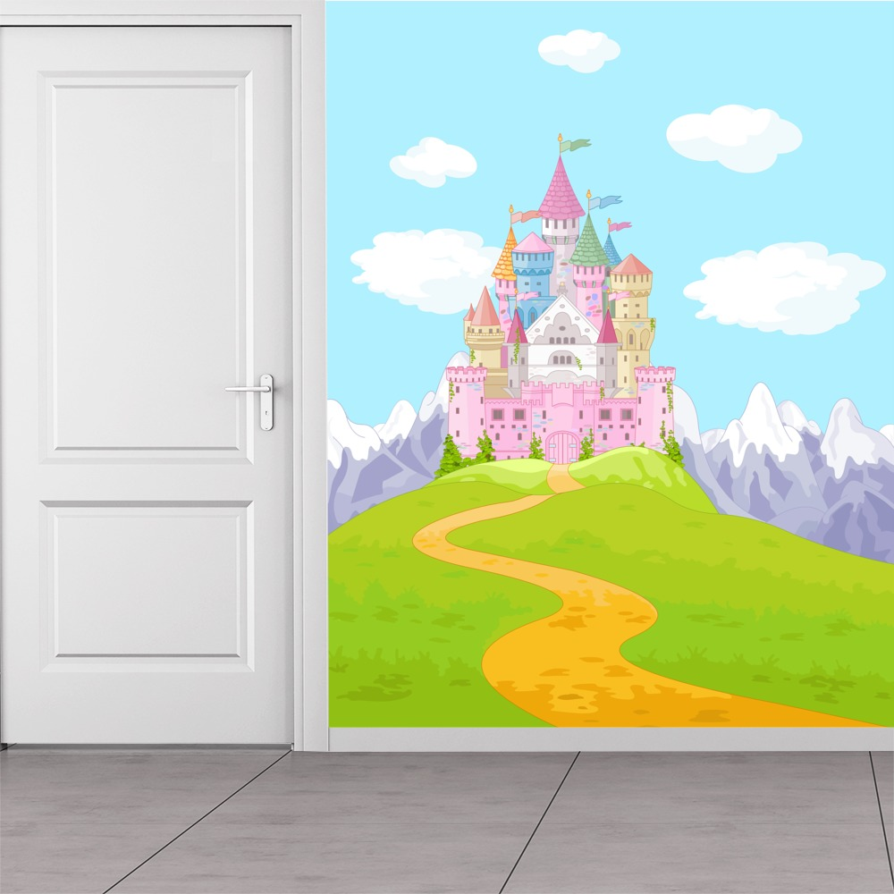 Pink princess castle wall mural fairytale fantasy photo for Castle wall mural