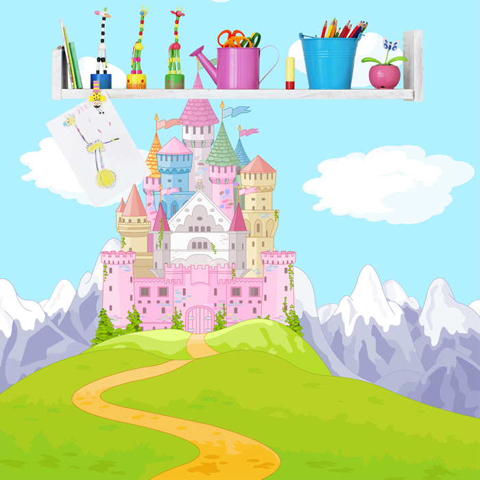 Pink princess castle wall mural fairytale fantasy photo for Castle wall mural wallpaper