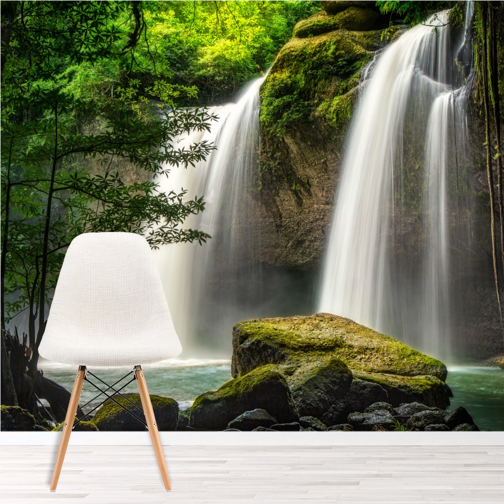 Landscape Waterfalls: Forest Waterfall Wall Mural Thailand Landscape Photo