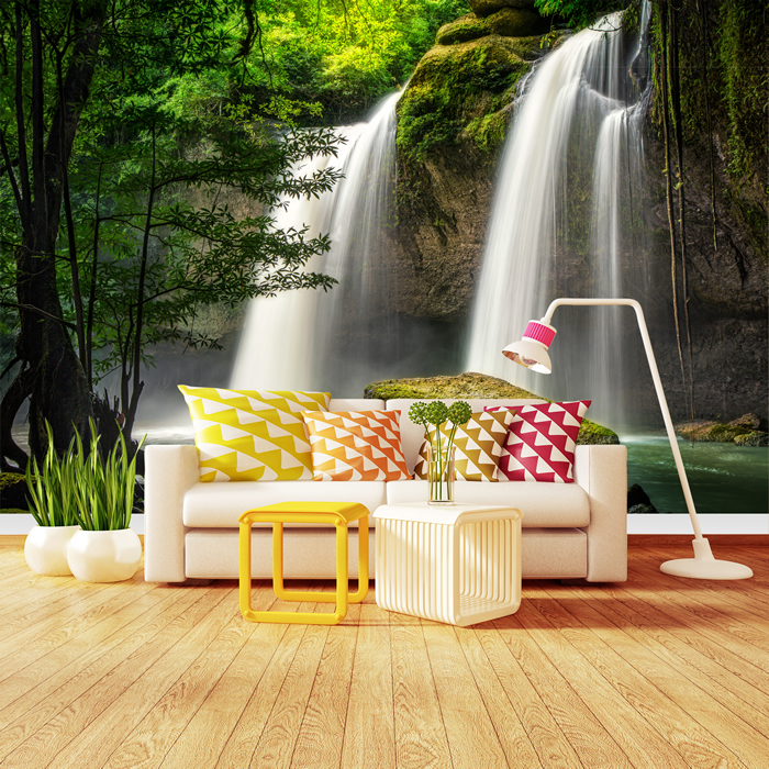 Forest Waterfall Wall Mural Thailand Landscape Photo Wallpaper ...