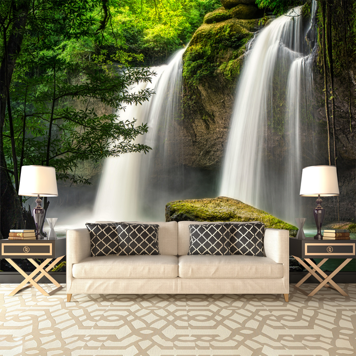 Forest Waterfall Wall Mural Thailand Landscape Photo Wallpaper