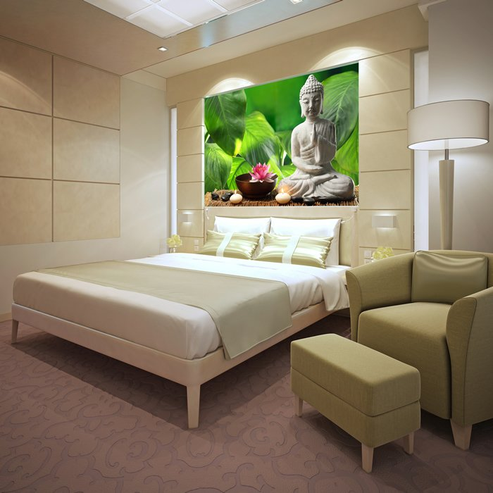 Buddha Statue Wall Mural Green Background Photo Wallpaper Bedroom Home Decor