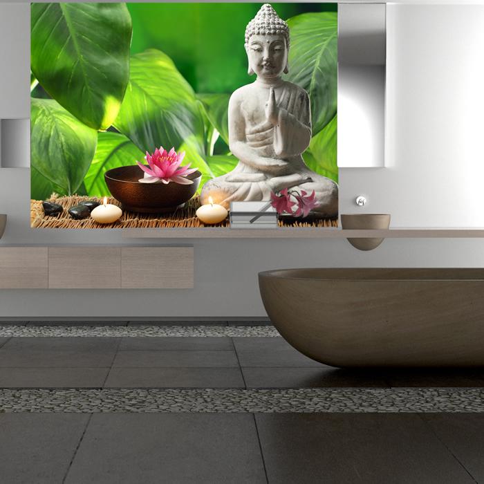 buddha figur wandbild gr ner hintergrund foto tapete schlafzimmer haus dekor ebay. Black Bedroom Furniture Sets. Home Design Ideas