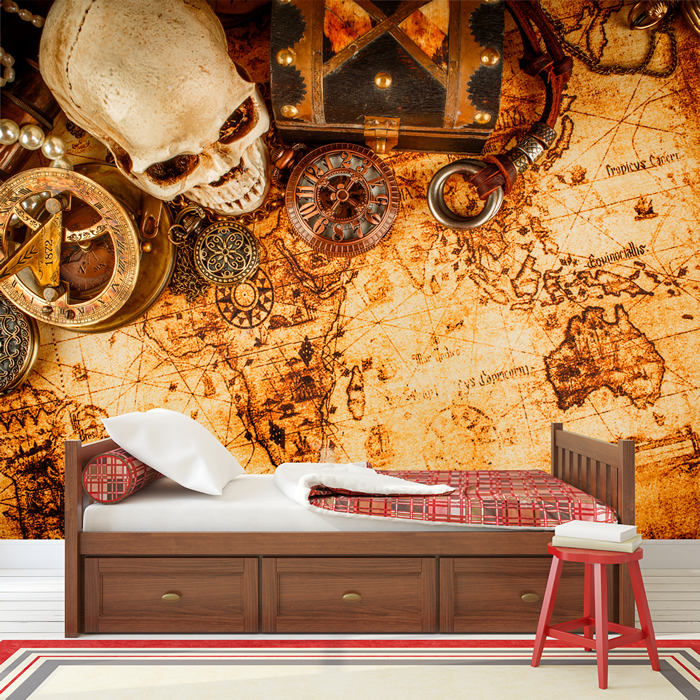 Vintage Treasure Map Wall Mural Pirate Photo Wallpaper Boys Bedroom Home Decor Ebay