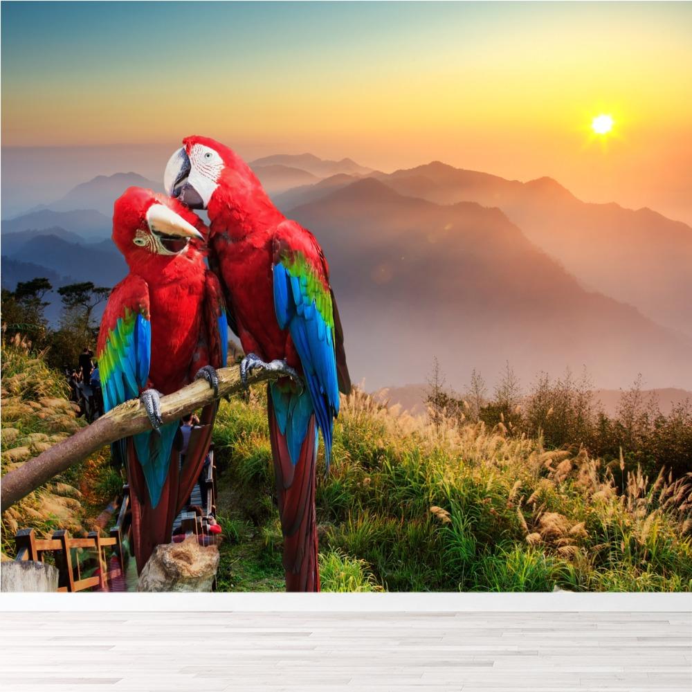 rote und blaue papageien wandbild sonnenuntergang berg foto tapete schlafzimmer ebay. Black Bedroom Furniture Sets. Home Design Ideas