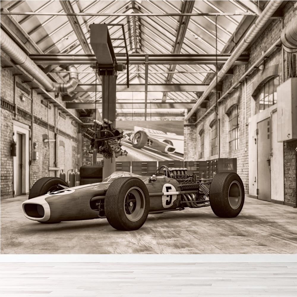Classic Race Car Wall Mural Black /& White Vintage Photo Wallpaper Home Decor