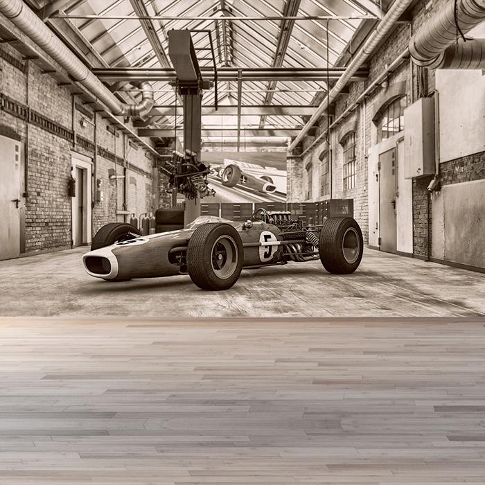 Vintage Formula Race Car Wall Mural Black & White Photo